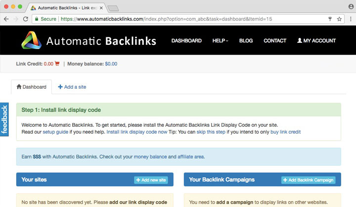 Automatic Backlinks Dashboard