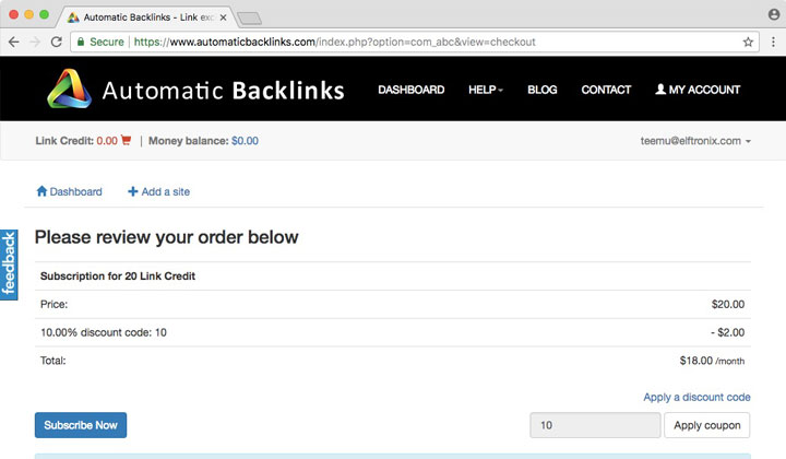 Automatic Backlinks Discount Code