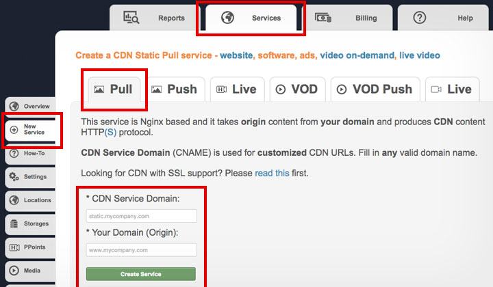 CDNSun Create Pull Service