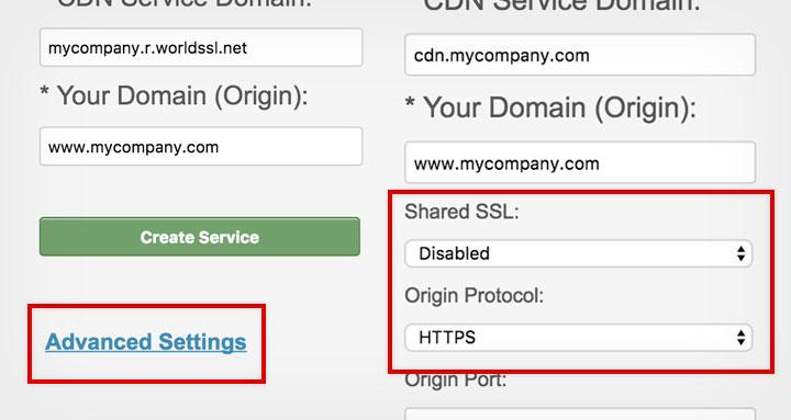 CDNSun HTTPS Setting