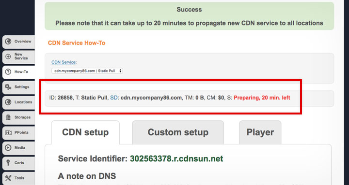 CDNSun Preparing CDN Service