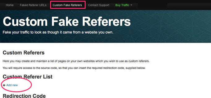 Custom Fake Referers Add New