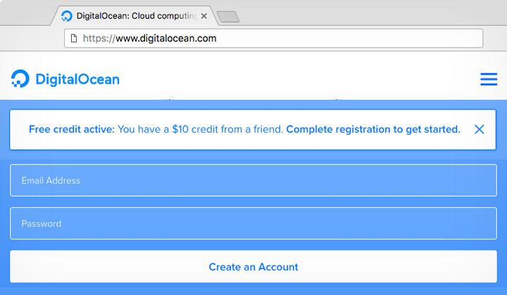 DigitalOcean $10 Friend Sign Up Credit