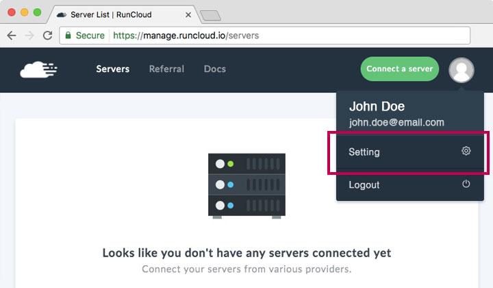 RunCloud Manage Settings