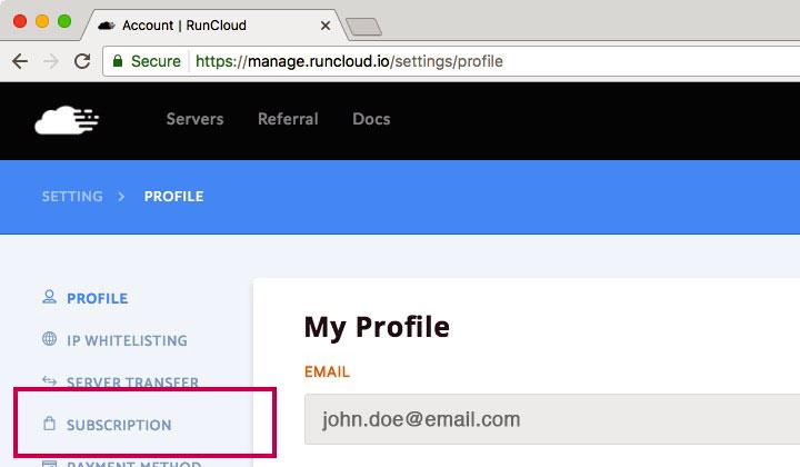 RunCloud Profile Subscription
