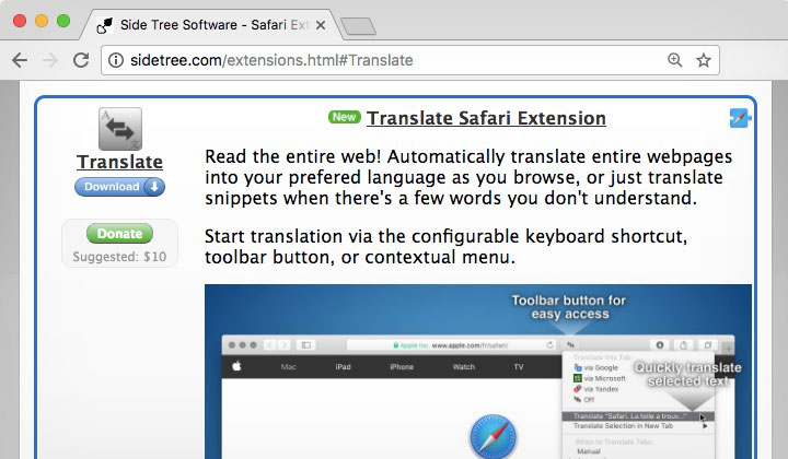 Translate Safari Extension