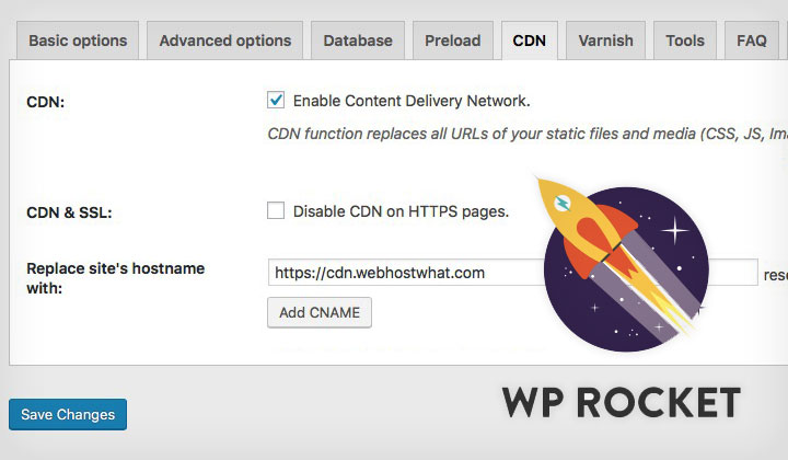 WP Rocket CDN CNAME