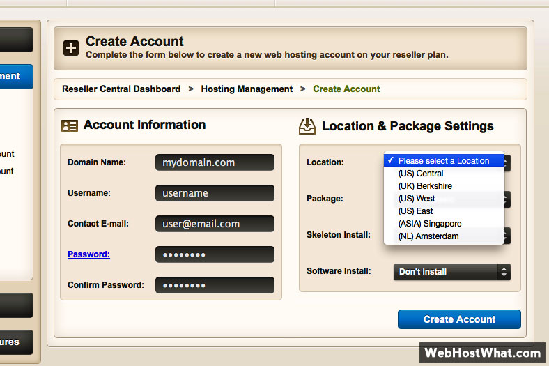 HostNine Reseller Web Host Account Creation