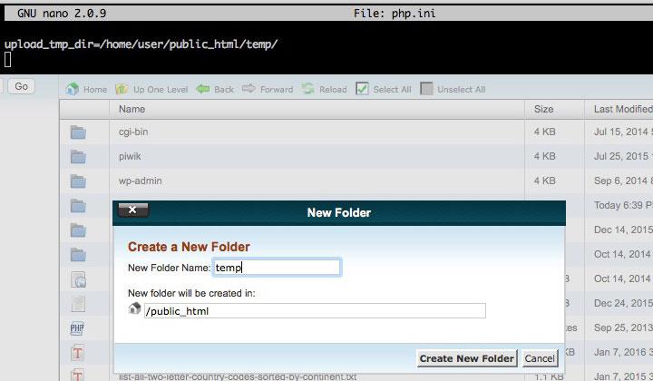 php.ini upload_tmp_dir temp folder