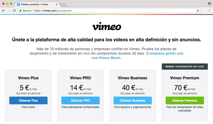 Vimeo Plus Pro Business Premium