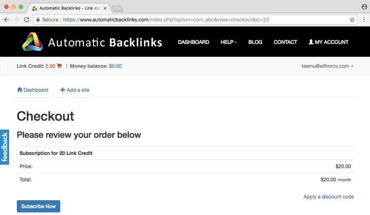 Automatic Backlinks Checkout