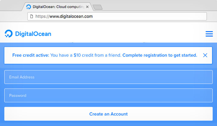 DigitalOcean $10 Friend Sign Up Credit