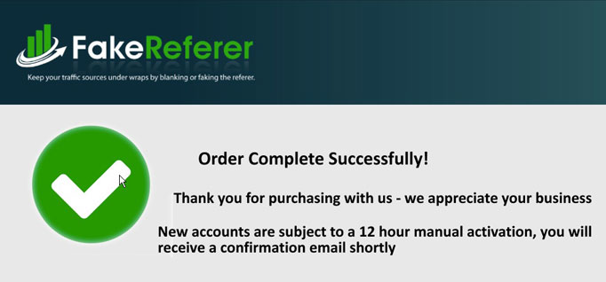FakeReferer Order Complete Sucessfully