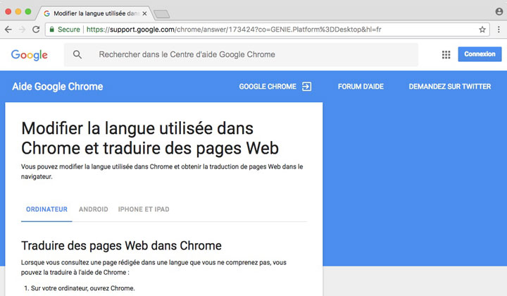 Google Chrome Traduction Automatique
