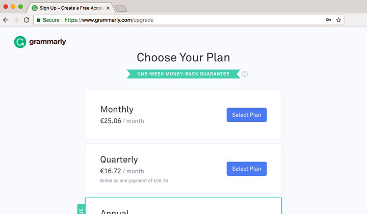 Grammarly Select Plan