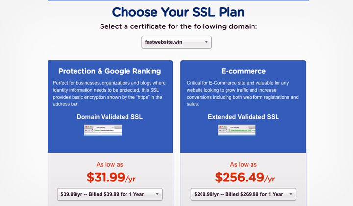 HostGator Choose SSL Plan