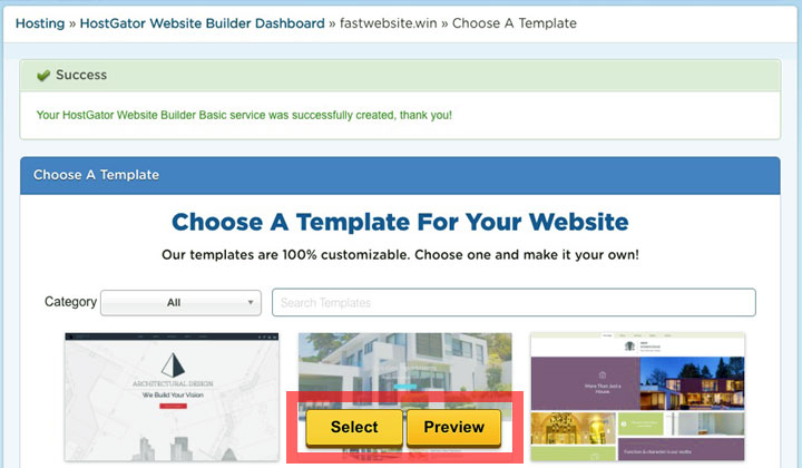 HostGator Choose Website Template