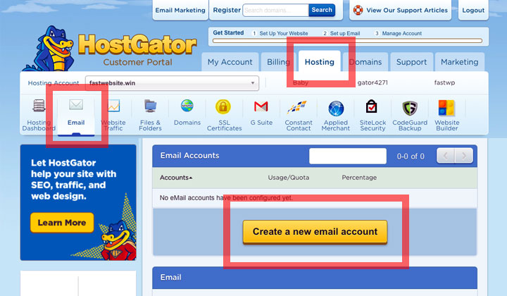 HostGator Create Email New Account