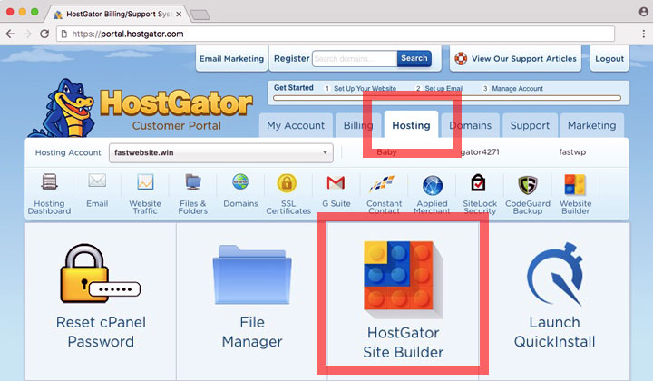 HostGator Customer Portal Site Builder