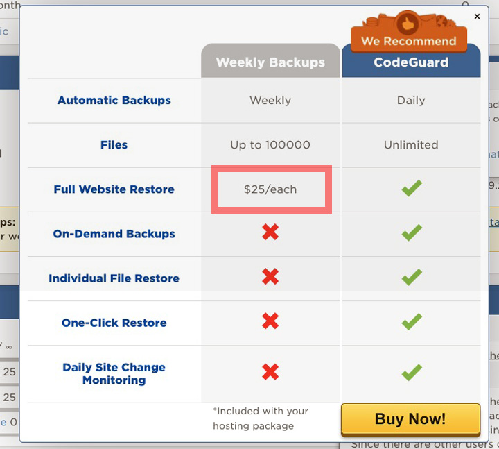 HostGator Free Weekly Backups