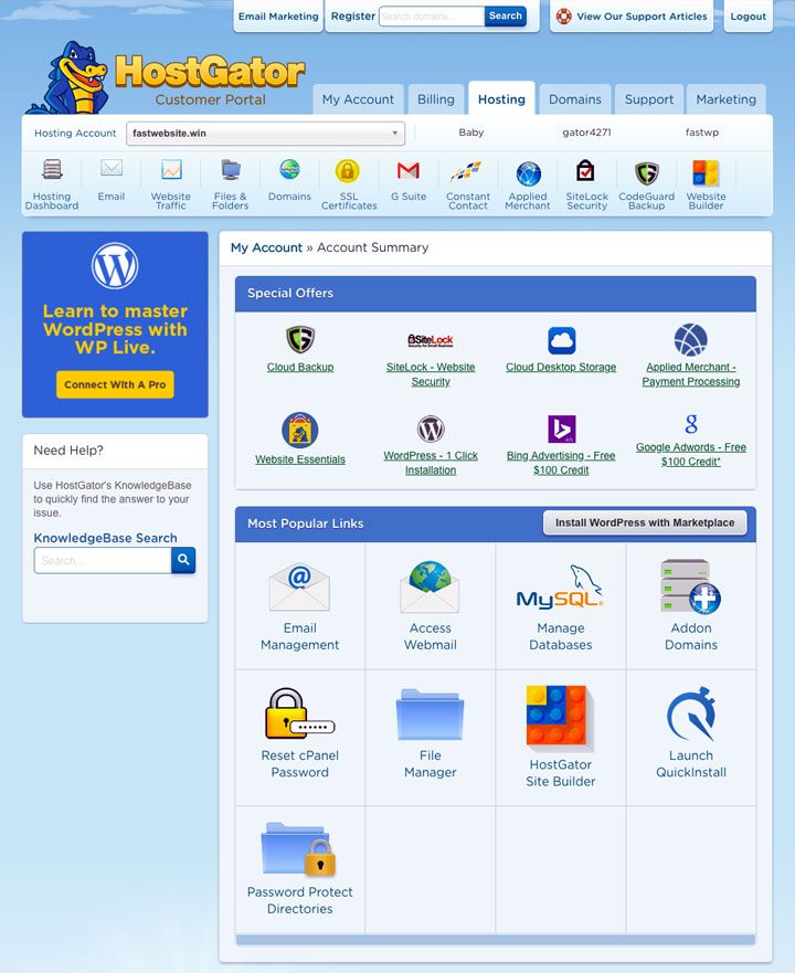 HostGator Hosting Customer Portal