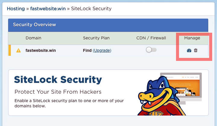 HostGator Manage Website SiteLock