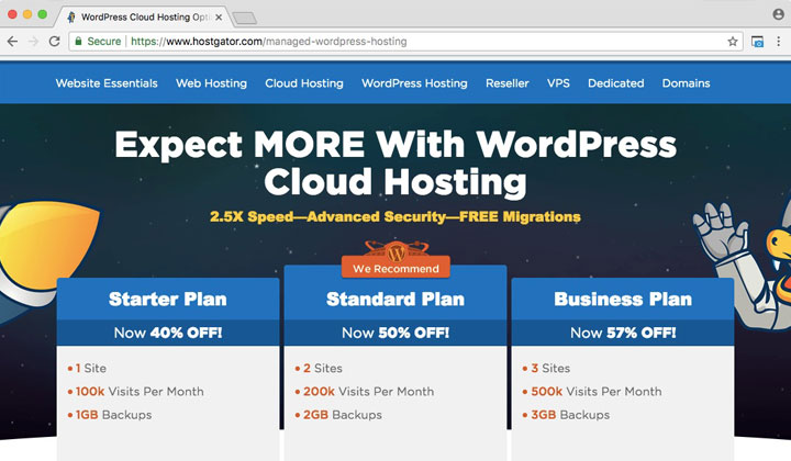 HostGator Optimized WordPress Cloud Hosting