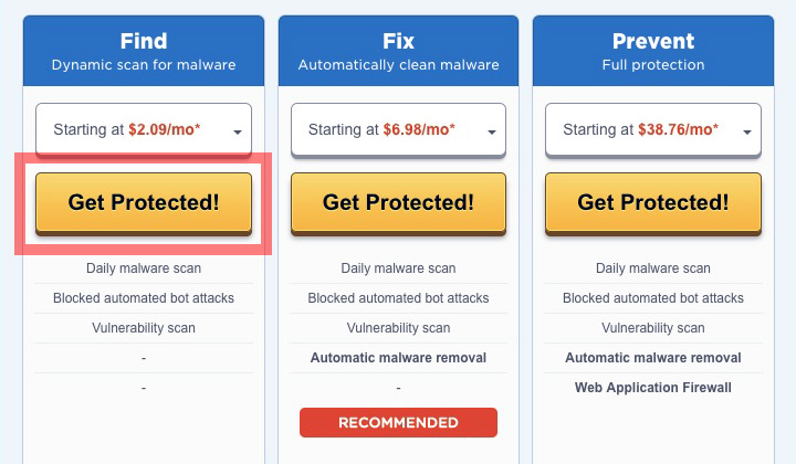 HostGator SiteLock Plans (Find, Fix, Prevent)