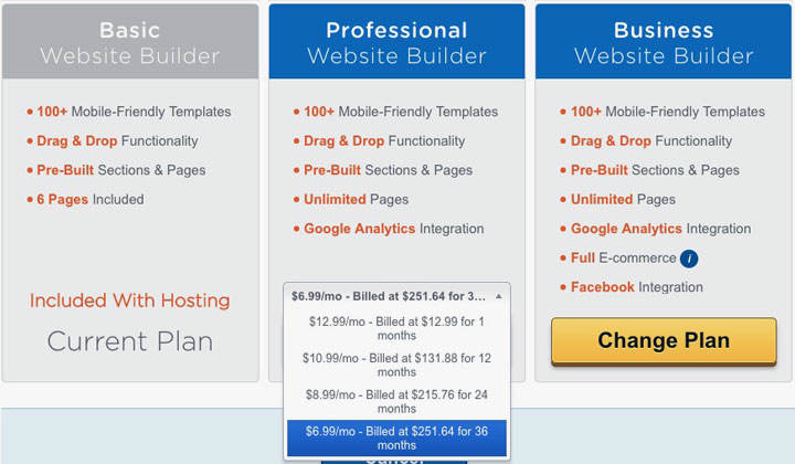 HostGator Website Buider Plan Upgrade