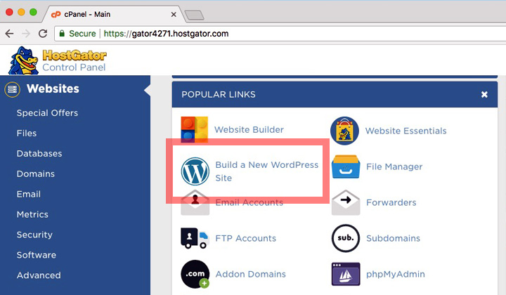 HostGator cPanel New WordPress