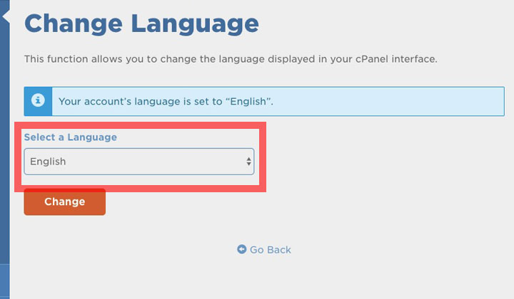 HostGator cPanel Select a Language