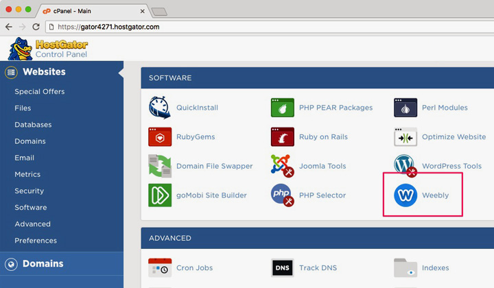 HostGator cPanel Weebly