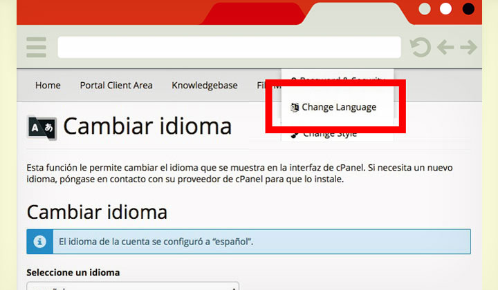 JustHost cPanel Cambiar Idioma