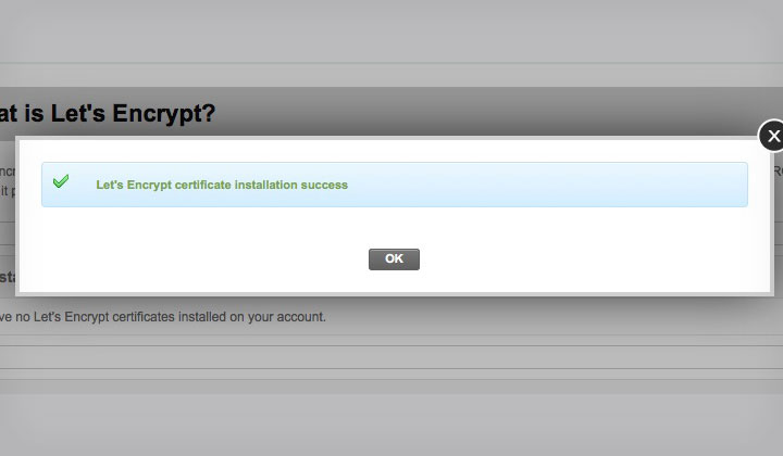 Let's Encrypt Certificate Installation Success