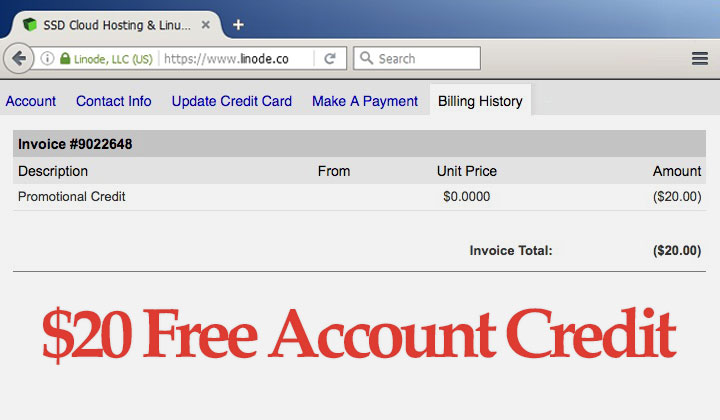 Linode $20 Free Account Credit