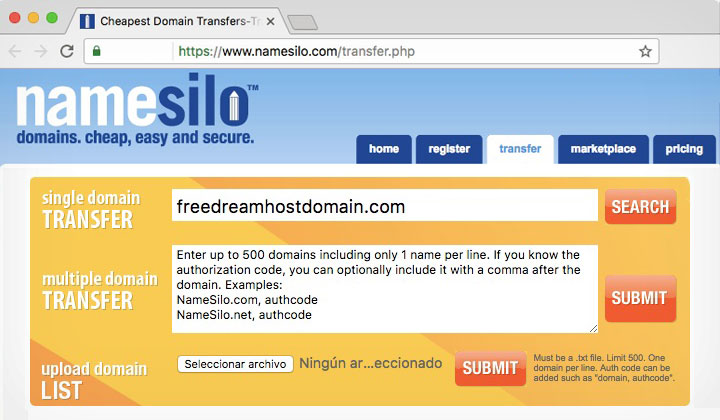 NameSilo Free Domain Transfer