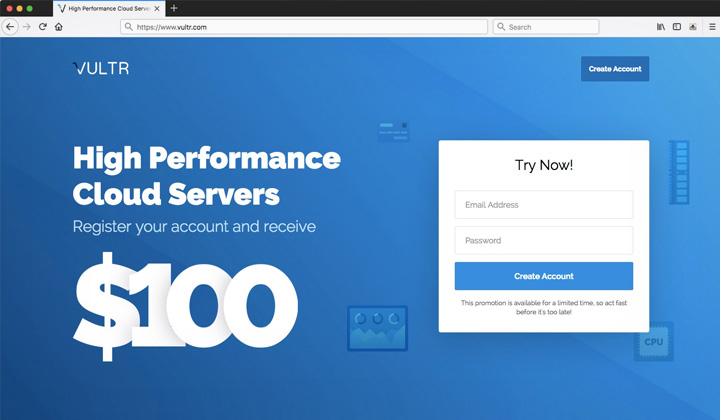 Vultr Register Your Account and Receive $100