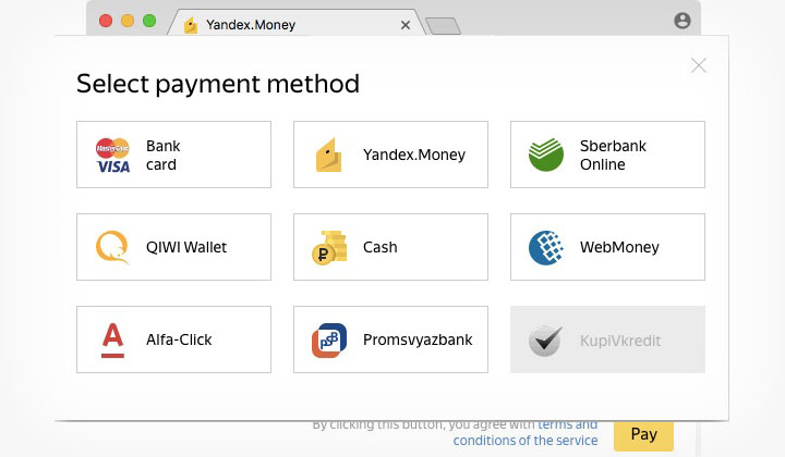 Yandex.Money Payment Method
