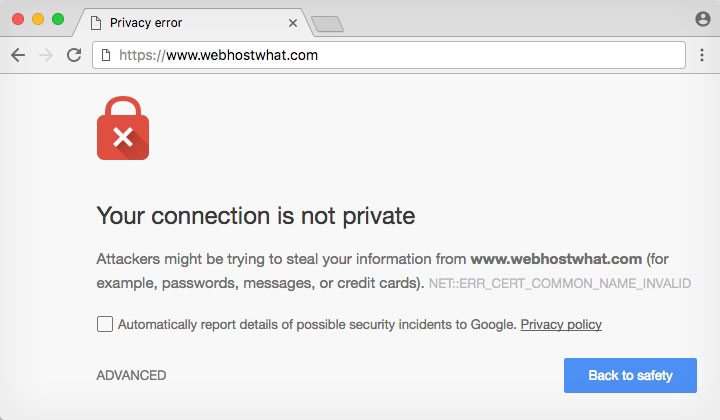 Your Connection Not Private Chrome